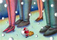 Christmas art - Where are you? Father Christmas.