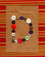 Letter B with Vintage Buttons and Brown Paper Bag