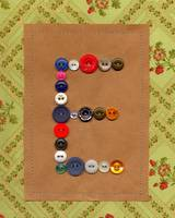 Letter E with Vintage Buttons and Brown Paper Bag
