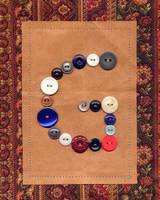 Letter G with Vintage Buttons and Brown Paper Bag