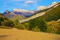 Autumn landscape in Drome mountains