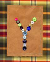 Letter Y with Vintage Buttons and Brown Paper Bag