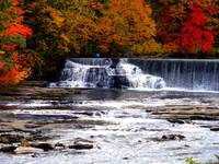 The Falls in the Fall at the Old Mill by Sara Fraser