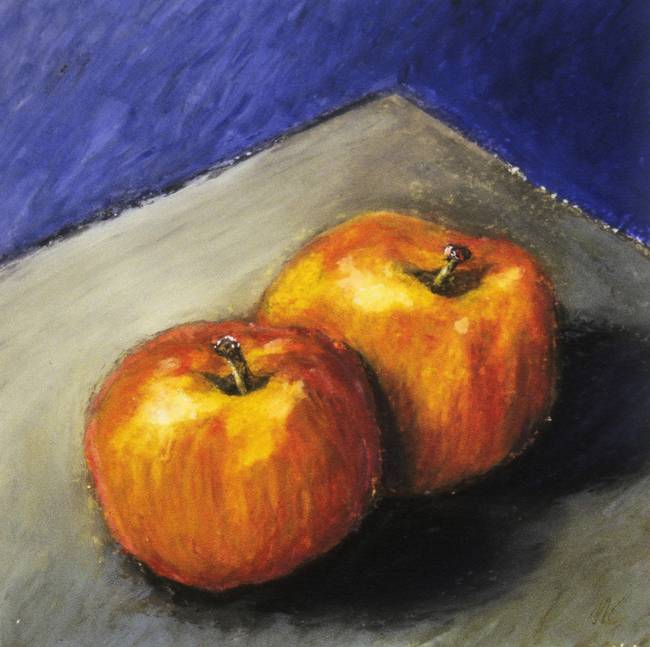 Two Apples with Blue and Grey