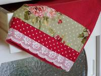 Retro red floral tea towel -created by Cath.