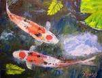 Taisho Sanke Koi Painting by Mazz Original Paintings