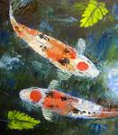 Taisho Sanke Koi Art by Mazz Original Paintings