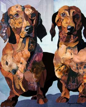 Dachshund by artist Marjorie Pesek. Giclee print, art prints, collage