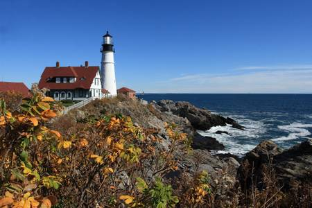 Portland Head Lighthouse in the Fall by Lou Ford