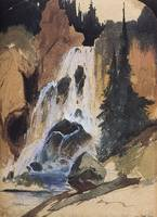 Crystal Fall, Crystal Creek (1871) by Thomas Moran
