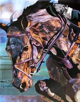 Horse Jumping by artist Marjorie Pesek. Giclee print, art prints, collage