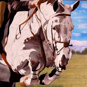 White Horse Jumping by artist Marjorie Pesek. Giclee print, art prints, collage