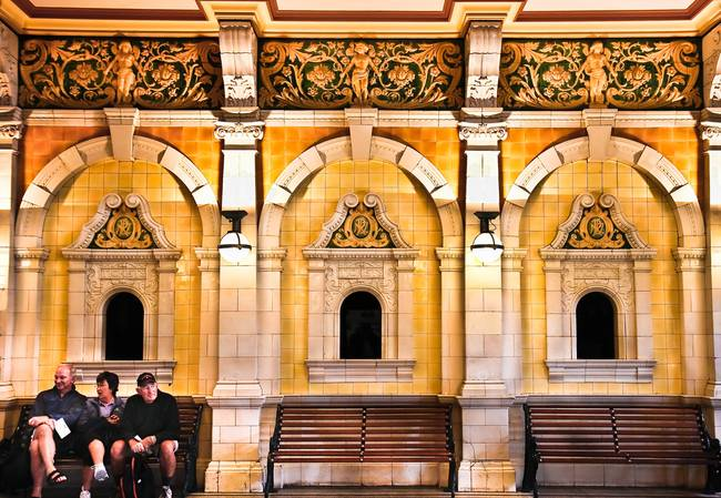 Yellow  Gold Train Station, Dunedin, New Zealand