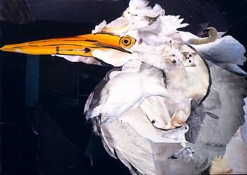 White Heron by artist Marjorie Pesek. Giclee print, art prints, collage