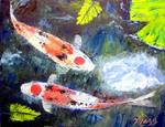 Taisho Sanke Koi by Mazz Original Paintings