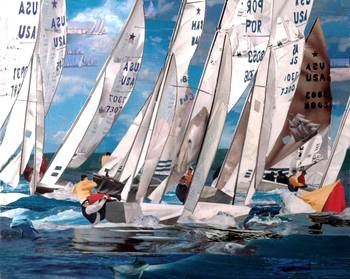 Regatta by artist Marjorie Pesek. Giclee print, art prints, collage