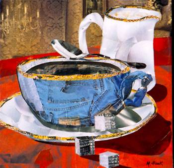Denim Coffee Cup by artist Marjorie Pesek. Giclee print, art prints, collage