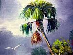 Palm Tree and Bird by Mazz Original Paintings