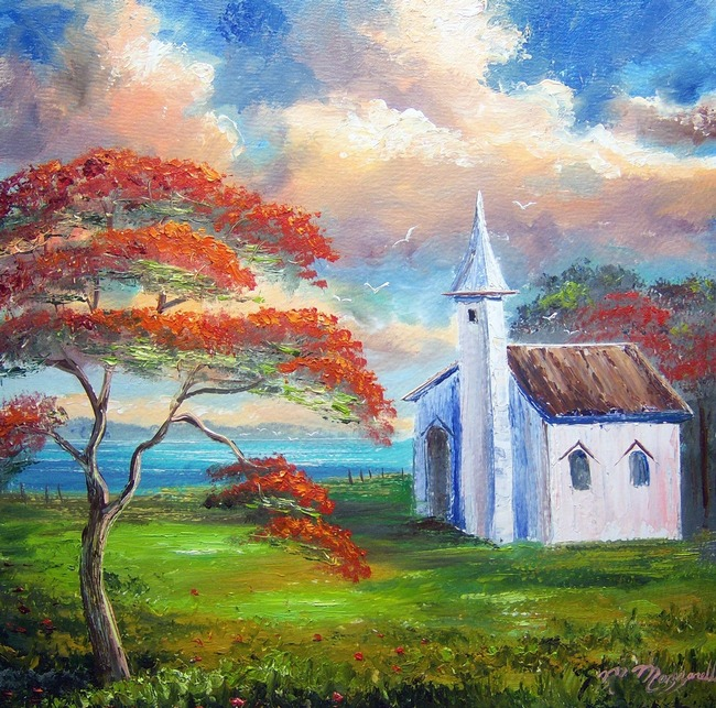 Old Church and Royal Poinciana Tree