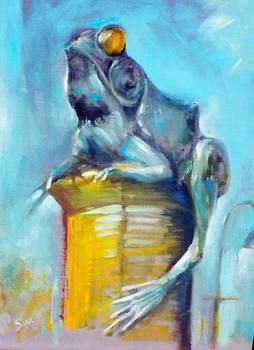 Willi of Willimantic by artist Sara Sawyer Bodlak. Giclee prints, art prints, animal art, frog art, a blue frog; from an original  painting