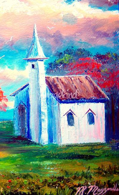 Old Country Church By Mazz Original Paintings