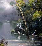Misty River Birds by Mazz Original Paintings