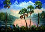 Tropical River Reflections by Mazz Original Paintings