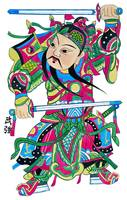 Chinese God with Two Swords