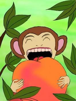 Monkey Eat Peach By Madoka