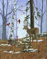 Deer and Cardinals in Winter