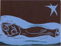Blue Madonna Sleeping: black and blue linocut.