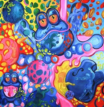 Blue Frog by artist Beth Thomas. Giclee prints, art prints, abstract animal art; frog art, colorful frog; from an original oil or acrylic, possibly mixed media painting