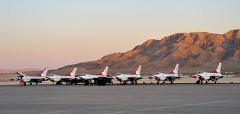 Thunderbirds On Nellis Ramp At Dusk