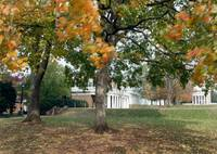 Blowing Leaves on The Lawn, University of Virginia