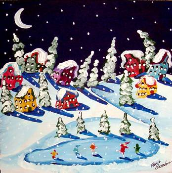 Winter Fun Ice Skating Snow by artist Renie Britenbucher. Giclee prints, art prints, posters, a landscape, folk art, winter scene, night, snowing, snowfall, iceskating; from an original  painting