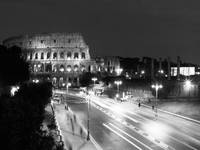 Colosseum Nightime Rome Black and White