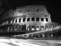 Colosseum Nightime Rome Black and White close up