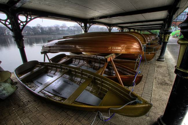 Roath Park Boats in the Late Victorian Boathouse