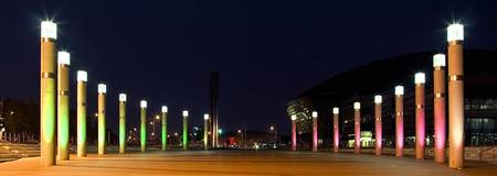 Cardiff Bay, Roald Dahl Plaza by night panoramic.
