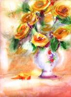 Yellow Roses Watercolor by Ginette Callaway