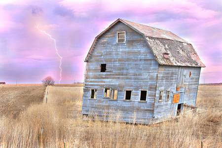 Tilting Blue Barn Lightning Strike