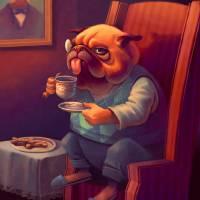 Pug Tea Time Art Prints & Posters by Karen Petrasko