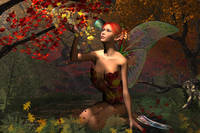 Magical Autumn Fairy Kneeling in the Sun
