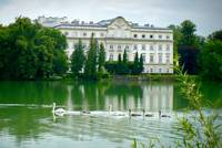 Austrian Chateau with Lake and Swans by Carol Groenen