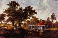 The Watermill with Red Roof by Meindert Hobbema