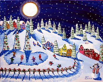 Tribute to Vince Guaraldi: Winter Wonderland by artist Renie Britenbucher. Giclee prints, art prints, posters, a landscape, folk art, winter scene, night, snowing, snowfall, iceskating; from an original  painting