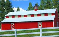 Red Barn, White Fence, Blue Sky