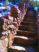 Stone steps with lense flair