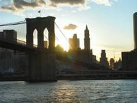 Closeup of Brooklyn Bridge at Sunset