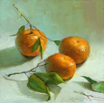 Tangerines With Tangerine Branches and Leaves by artist Hall Groat II. Giclee prints, art prints, a still life, fine art print; from an original oil painting